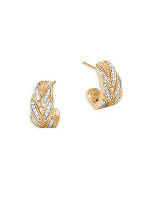 Modern 18K Gold & Diamond Earrings