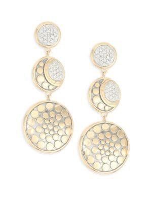 Dot Moon Phase 18K Gold & Diamond Earrings