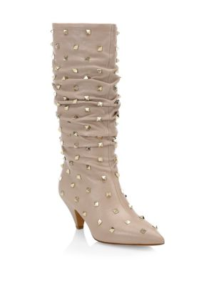 Ruched Leather Rockstud Boots
