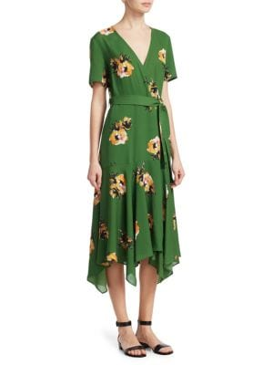 Cora Short-Sleeve Floral Silk Wrap Dress