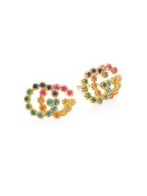 18K Yellow Gold Sapphire, Topaz & Tsavorite Earrings