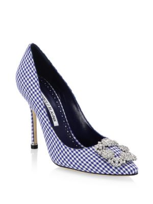 Hangisi 105 Crystal-Buckle Gingham Pump