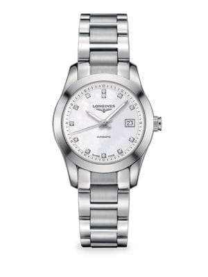 LONGINES Ladies Conquest Classic Stainless Steel and Diamond Watch