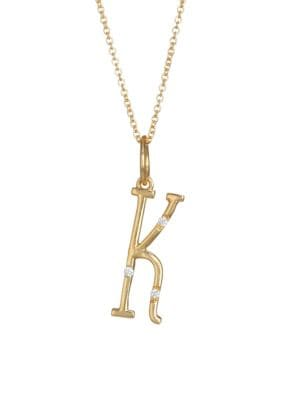 Character Letters Diamond & Gold K Pendant Necklace