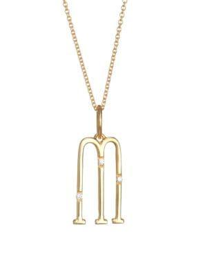 DEVON WOODHILL Character Letters Diamond & Gold M Pendant Necklace