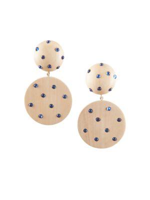 Marina Wood & Glass Ball & Disc Earrings