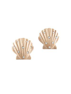 Ariel Wood & Glass Seashell Stud Earrings