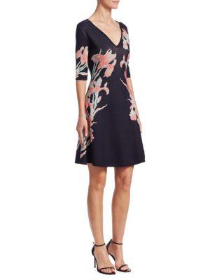 Floral-Print Jacqaurd A-Line Dress