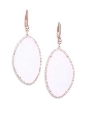 Moonstone & Diamond Rose Gold Earrings