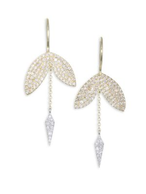 Diamond, 14K Yellow & White Gold Earrings