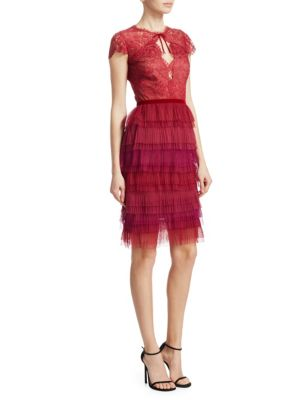 Short-Sleeve Pleated Lace Cocktail Dress