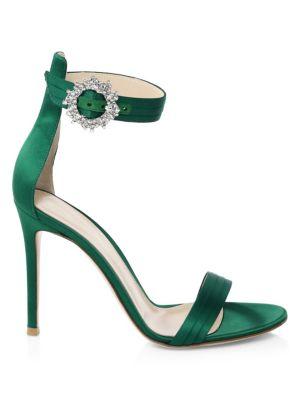 Embellished Satin Ankle-Strap Sandals