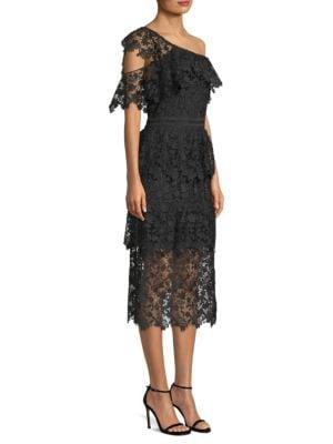 Belisa Lace One-Shoulder Midi Dress
