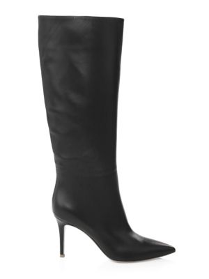 Leather Point Toe Tall Boots by Gianvito Rossi