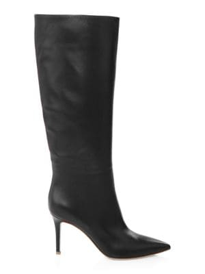 POINT-TOE LEATHER MID-CALF BOOT
