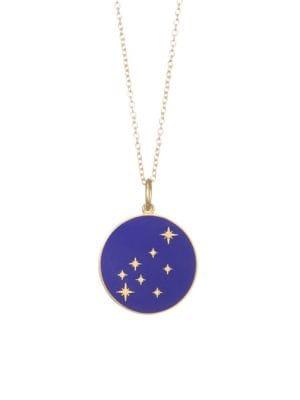 BARE Constellation Aquarius Diamond Enamel Pendant Gold Necklace