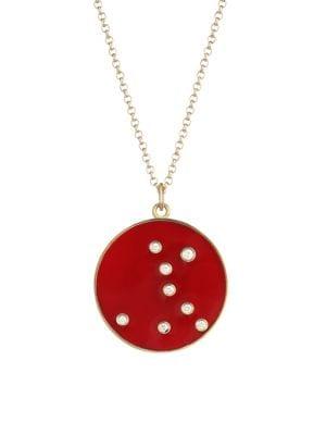 BARE Constellation Pisces Diamond Enamel Pendant Gold Necklace