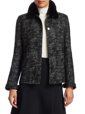 Faux Fur Collar Tweed Jacket