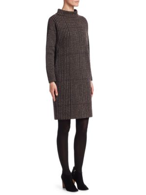 Houndstooth Jacquard Mockneck Dress