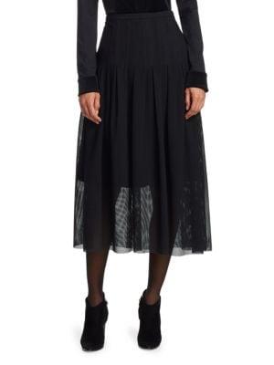 Pleated Net Midi Skirt