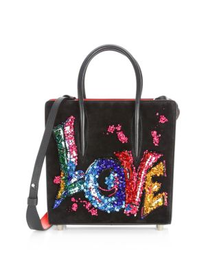 CHRISTIAN LOUBOUTIN Paloma Suede Embroidered Love Shoulder Bag
