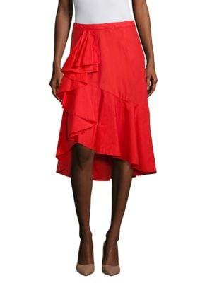 Chesmu Ruffle Poplin Midi Skirt