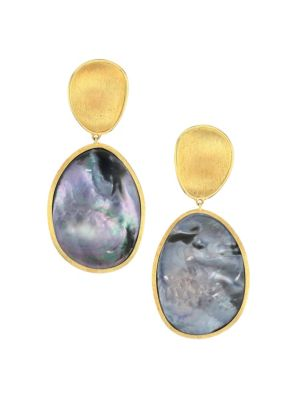 Lunaria 18K Gold & Black Mother-Of-Pearl Drop Earrings