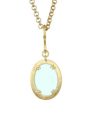 Aqua Glass & 18K Gold Plated Bronze Pendant