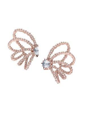 Crystal Lace Orbiting Rose Goldtone Post Earrings