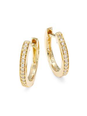 14K Yellow Gold & Diamond Huggie Hoop Earrings