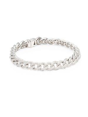 14K White Gold & DiamondPavé Link Bracelet