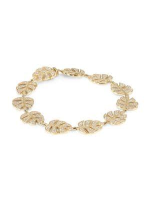 14K Yellow Gold & Diamond Large Monstera Leaf Bracelet
