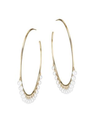 14K Yellow Gold & 4MM White Pearl Large Hoop Earrings
