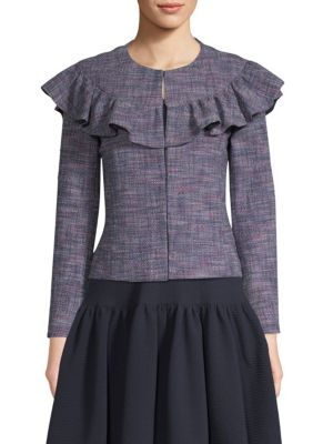 Stretch Tweed Ruffle Jacket by Rebecca Taylor