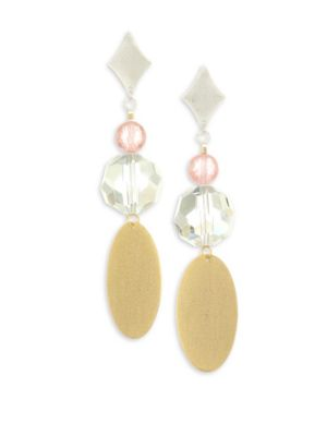 Crystals, Brushed 18K Rose Gold & Sterling Silver Plated Earrings