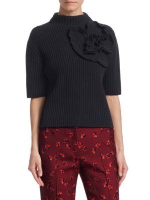 Wool & Cashmere Floral Knit Turtleneck Sweater