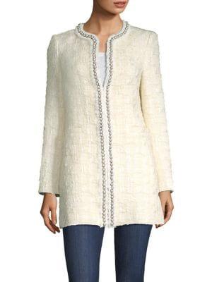 Andreas Pearl Embellished Tweed Jacket by Alice + Olivia
