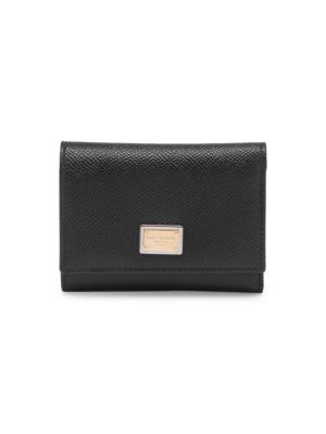 Large Grained Leather Bi-Fold Wallet