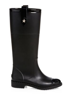 EDITH RUBBER & LEATHER TALL BOOTS