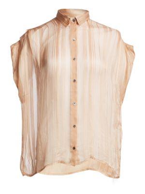 Ruts Sheer Striped Button-Down Shirt