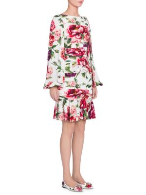 Charmeuse Stampa Peonie Full Sleeve Ruched Dress