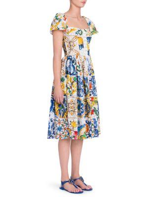 Maiolica Print Eyelet Cotton Poplin Dress