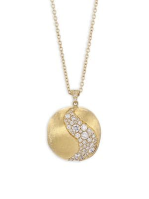 Africa Diamond & 18K Yellow Gold Long Pendant Necklace
