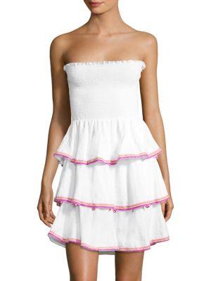 PITUSA Samba Strapless Ruffled Dress