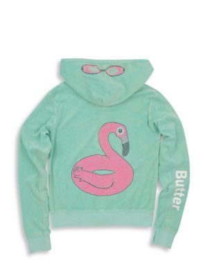 Little Girl's & Girl's Mineral Wash Terry Flamingo Hoodie