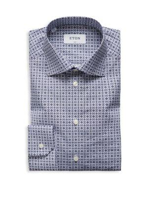 Slim-Fit Printed Cotton Poplin Dress Shirt