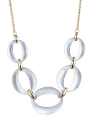 10K Yellow Gold & Lucite Link Statement Necklace