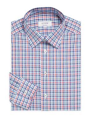Plaid Poplin Slim-Fit Cotton Dress Shirt