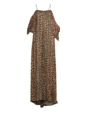 Delphi Leopard Cold-Shoulder Maxi Dress