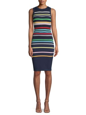 Rainbow Striped Sheath Dress